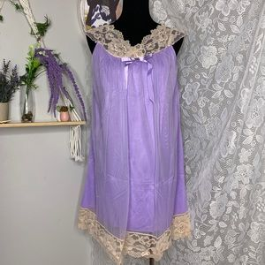 Vintage 1970s purple chiffon overlay nightgown